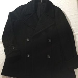 Free People Wool Blend Peacoat, Size Large